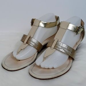 Coach Cream Gold Leather Thong Ankle Strap Sandal